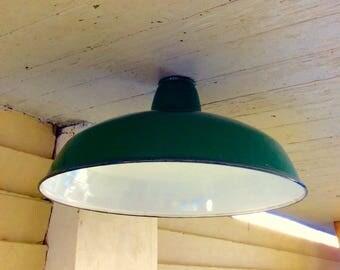 Vintage Barn Light Cover / Gas Station Light / Green Porcelain Enamel Metal Lamp Cover / Industrial Light
