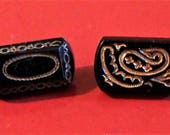 vintage black glass, gold trim, oblong buttons