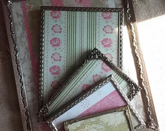 Collection Of Vintage Picture Frames, Gold Toned Ornate Metal Frames, Vintage Easel Back Frames, Easel Photo Frames,