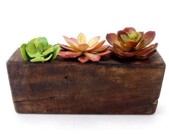 Vintage Wood Sugar Mold, 3 Openings (c.1920s) - Mid Century Atomic Planter