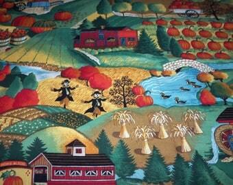 Down On The Farm Fabric Turkeys Pumpkins Scarecrows By Fat Quarter New BTFQ