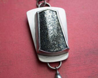 One of a Kind Marcasite in Agate Sterling Silver Pendant Necklace with Freshwater Pearl