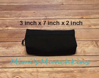 Designer Travel Zipper Bag, Solid Black Bag, Pencil Bag, Eyeglass Case, Toiletry Bag, Luggage, READY TO SHIP