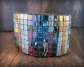 Multi color Leather Cuff Bracelet, Mosaic Medley, Black beaded leather, Wide cuff, Bohemian Gypsy Chic