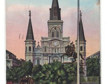 "Louisiana, Vintage Postcard, ""St. Louis Cathedral, Jackson Square, New Orleans, La.,""  1938, #1106."