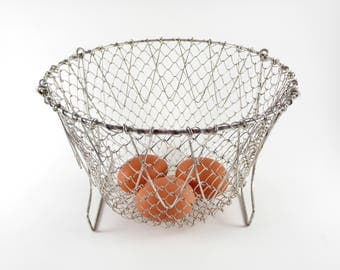 French Country Vintage Wire Collapsible Basket Strainer Egg Carrying Rustic Home Decor Mesh Colander Made in France