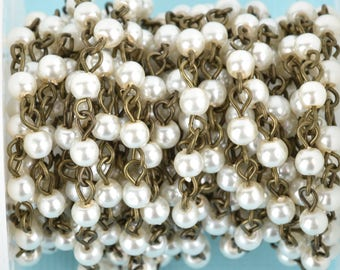 1 yard IVORY CREAM Pearl Rosary Chain, bronze, Off White Glass Pearls, 4mm round glass pearl beads, fch0669a