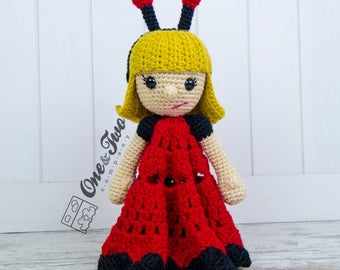 June the Ladybug Girl Lovey / Security Blanket - PDF Crochet Pattern - Instant Download - Blankie Baby Blanket