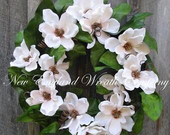 ON SALE Magnolia Wreath, Elegant Floral Wreath, Summer Wreath, Wedding Wreath, Designer Wreath, Country French Wreath, Victorian  Garden Wre