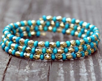 Turquoise & Gold Alternate Wrap Bracelet