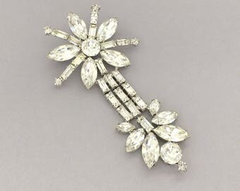 Wedding Jewelry Statement Brooch - Clear Rhinestone Brooch - 1950s Rhinestone Bridal Brooch - Vintage Wedding Bridesmaid Jewelry Gift