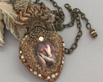 Mixed Media Statement Necklace - Sacred Heart Necklace - Flaming Heart Long Necklace - Unique Handmade Jewelry Necklace - Gift for Her