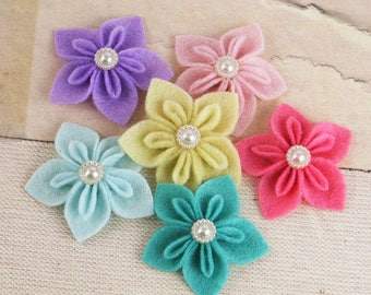NEW  Fabric Flowers -  Lyrique B Lights  562069 -  Prima felt  flowers with  pearl button centers accents