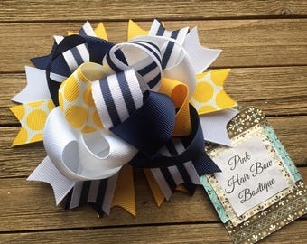 Funky Navy white and gold hair bow 5 inch bow