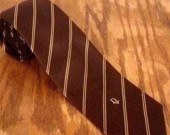 "vtg 60s Christian Dior Brown Silk Diagonal Stripe Pattern Men's Tie 56"" 3"""