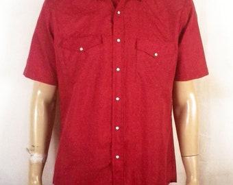 vtg 80s Saddlebrook Shiny Red Diamond Pattern Western Shirt ss MINT sz L