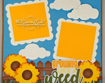 Premade Scrapbook Page 12x12 Layout Growning Like A Weed, Boy Girl Baby Paper Piecing Handmade 12