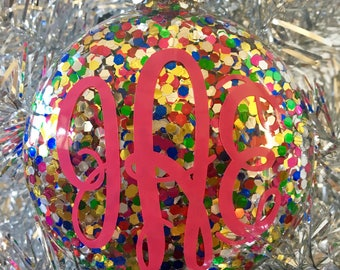 Personalized Christmas Ornaments, Monogrammed Christmas Ornaments, Christmas Ornaments, Glitter Ornaments, Holiday Ornaments, Monogrammed