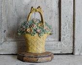 Antique Cast Iron Flower Basket Doorstop, Hubley # 42