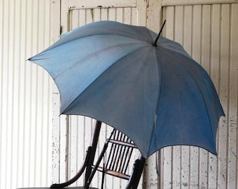 Vintage Blue Umbrella, Blue Parasol