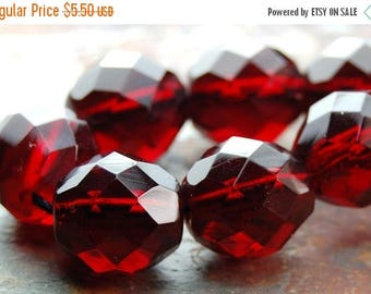 ON SALE Red Garnet 10mm Faceted Czech Glass Beads   -16 inch strand