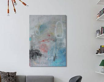 Abstract  original art painting 19,5 in x 24,5 in Acrylic + mixed media