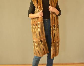 SALE Long Fur Vest Vintage 80's