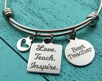 teacher gift bracelet, thank you gift for teacher, end of year teacher appreciation jewelry, love teach inspire, mentor gift, best teacher