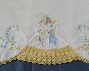 Vintage White Pillowcase Colonial Lady Yellow Crochet Skirt Southern Belle