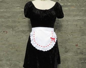 Valentine Gift Half Apron White Eyelet Ruffle Red Ribbon Trim Sexy Maid