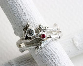 Ruby, Diamond, White Sapphire,Engagement Rings, Silver Twig Rings, Nature rings