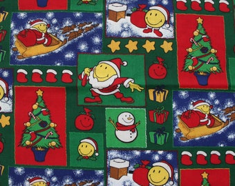 90's Smiley Santa Christmas Fabric with Snowman . Quilting Scrap Material . Destash Cute Red Green Yellow