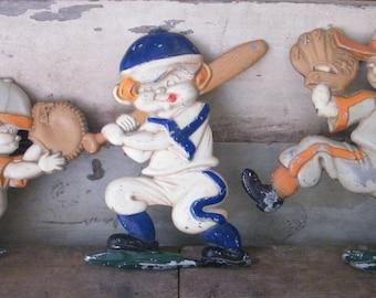 Vintage Set of 3 Sexton Wall Plaques Wall Art Baseball Players