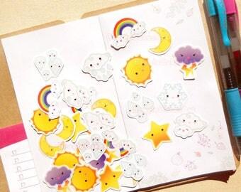Weather Stickers, Planner Stickers, Erin Condren Sticker, Kawaii Stickers, Rainbow Sticker, Cute Stickers, Decorative Sticker, Snail Mail