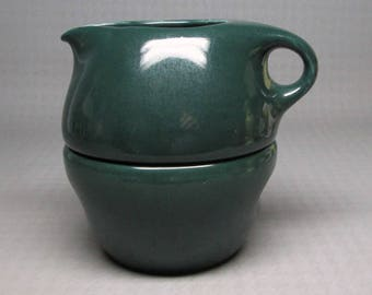 Russel Wright stack creamer and sugar dark green color - parsley