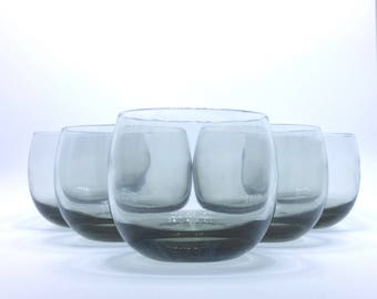 Set of 5 smoke colored roly poly glasses, Sundown by Federal Glass, MCM barware, smoke barware, midcentury barware