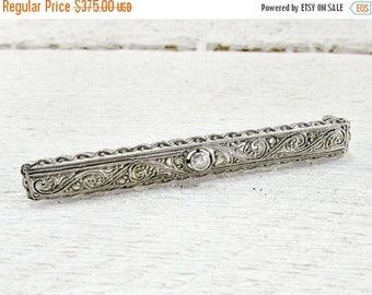 SALE Antique Art Deco Diamond Bar Brooch Pin,18K Solid White Gold Brooch, Gold Filigree Brooch, 1920s Fine Estate Jewelry, Valentines Day Gi