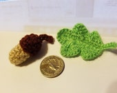 Special order for Cheryl Plummer. Handmade Crochet 3 Acorns and  3 Oak Leaves.