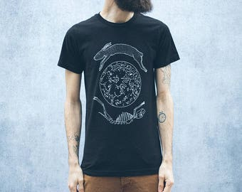 Lunar Hare Black Screen Print Punk Moon T-Shirt