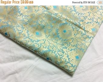 15% off on Fat quarter Light cyan blue pure silk brocade with a gorgeous flower pattern