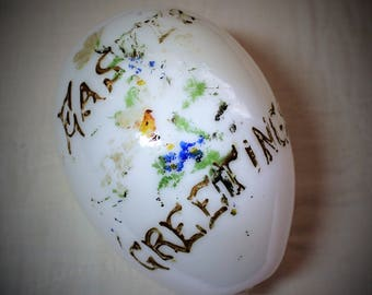 Antique Milk Glass Easter Egg Hand Blown Egg Victorian
