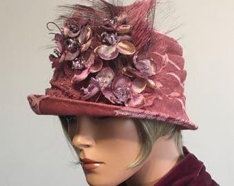1920's Inspired Hat Cloche Hat Phryne Hat Flapper Hat Gatsby Hat Downton Abby Hat Unique Cloche Miss Fisher Hat Cloche Hat