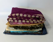Brocade fabric scraps, sari fabric, jacquard, small to medium scraps, lot of fabric scraps, scrap assortment, fabric remnants