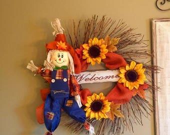 On Sale Rustic Fall Welcome Wreath Scarecrow Wreath Twig Door Sunflower Wreath Thanksgiving Silk Floral Arrangement Autumn Wreath Rustic Fal