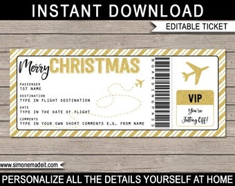 Christmas Gift Airplane Ticket - Printable Boarding Pass - Surprise Trip - Gold Glitter - INSTANT DOWNLOAD with EDITABLE text - you edit