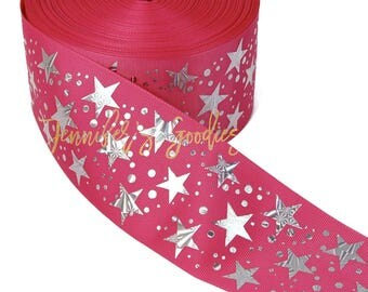 "3"", Pink Stars Ribbon, Hologram Stars, Patriotic Ribbon, Cheer Bow Ribbon, DIY Cheer Bows, Wholesale Ribbon, PER YARD"