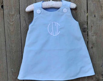 Baby Corduroy Dress, Classic A-line Jumper, Blue corduroy, can be monogrammed with add on...3m,6m,9m,12m,18m,2t,3t