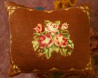 Vintage Needlepoint Pillow with Roses