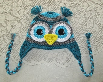READY TO SHIP - 5 Years to Small Adult Size - Teal, Grey and Turquoise Crocheted Owl Hat - Winter Hat or Photo Prop