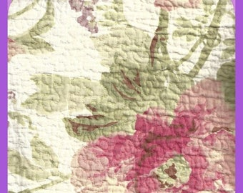 Floral Pre Quilted Cotton FABRIC Remnant 1/2 Yard